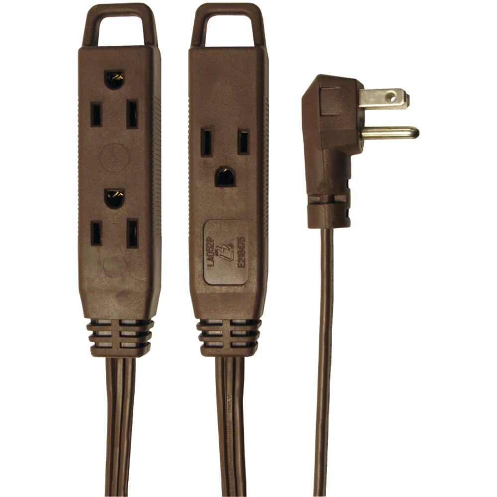Axis 3-Outlet Indoor Extension Cord, 8ft (Brown)
