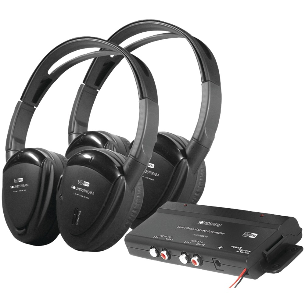 POWER ACOUSTIK HP-902RFT 2 Pair of 2-Channel RF 900MHz Wireless Headphones with - Wireless & Ir Headphones -