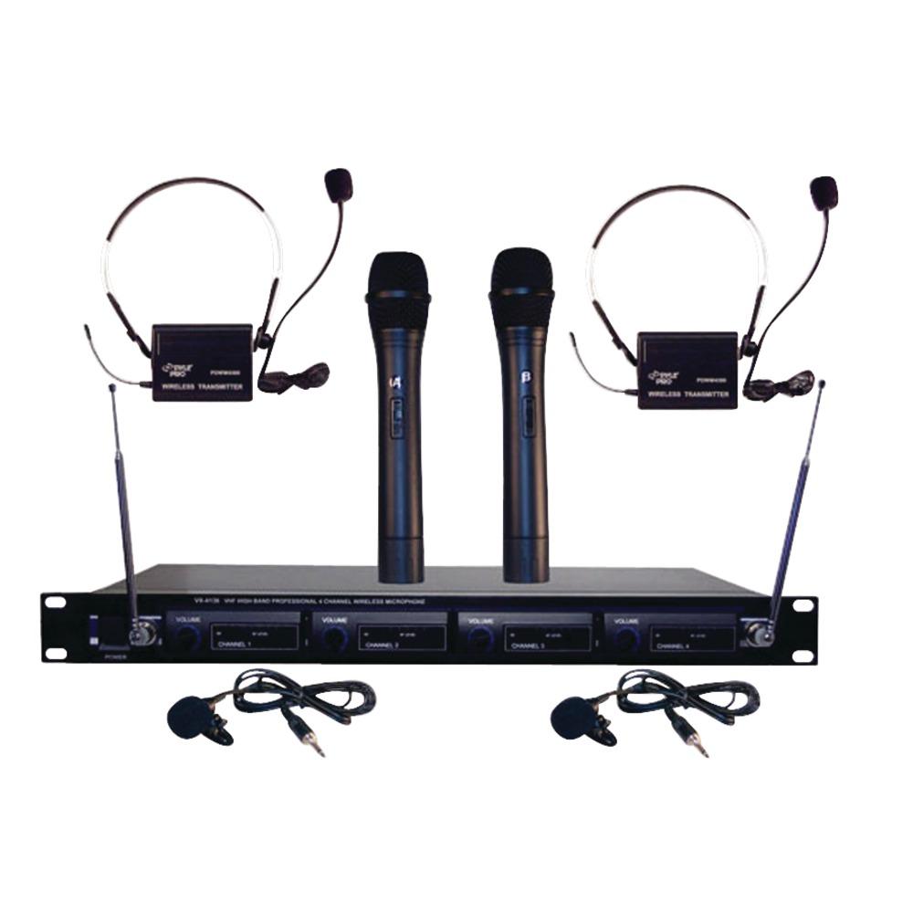 PYLE PRO PDWM4300 4-Microphone VHF Wireless Microphone System - Wireless Microphones -
