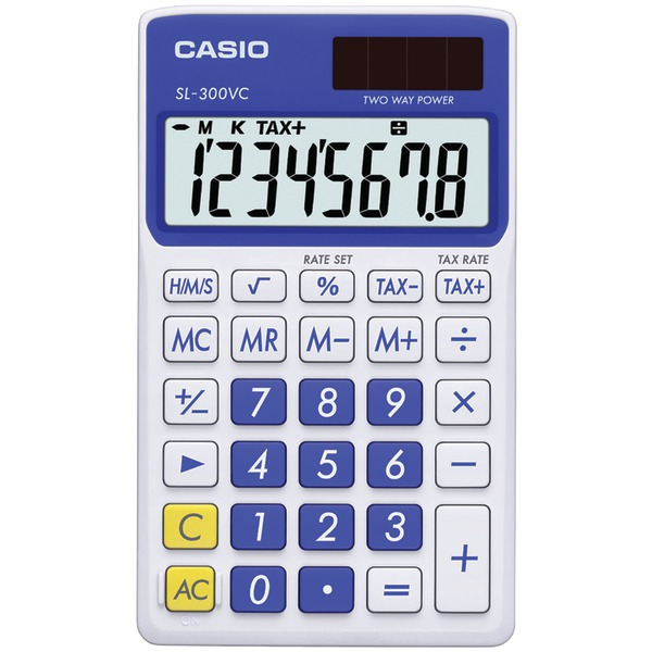 Casio Sl300Vcbesih Solar Wallet Calculator With 8-Digit Display (Blue) at Sears.com