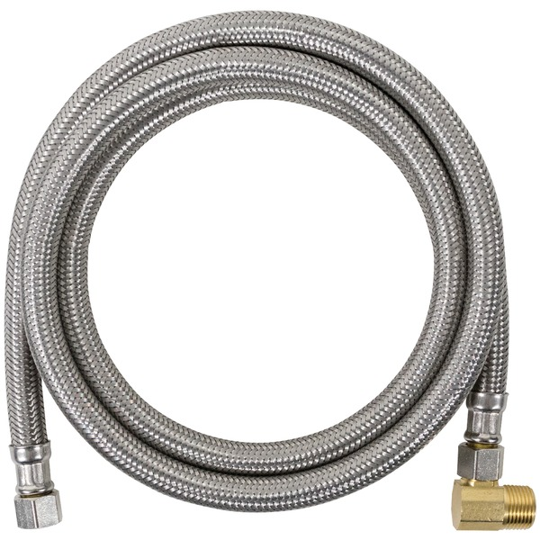 Certified Appliance Accessories(R) DW72SSBL Braided Stainless Steel Dishwasher Connector with Elbow, 6ft