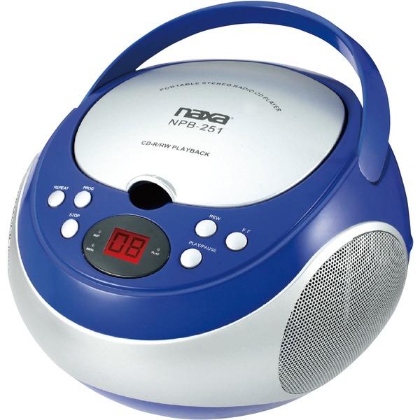 Naxa(R) NPB251BL Portable CD Player with AM/FM Radio (Blue)