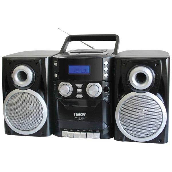 Naxa(R) NPB426 Portable CD Player with AM/FM Radio, Cassette & Detachable Speakers