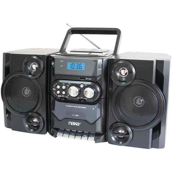 Naxa(R) NPB428 Portable CD/MP3 Player with AM/FM Radio, Detachable Speakers, Remote & USB Input