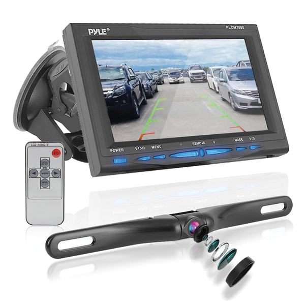 """Pyle(R) PLCM7500 7"""" Window Suction-Mount LCD Widescreen Monitor & License Plate Mount Backup Color Camera with Distance-Scale Line"""