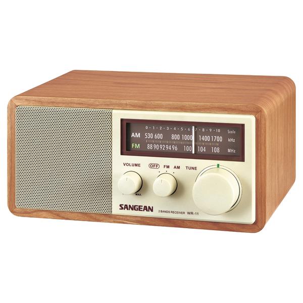 Sangean wr11 wood cabinet am fm tabletop radio for Radio salle de bain