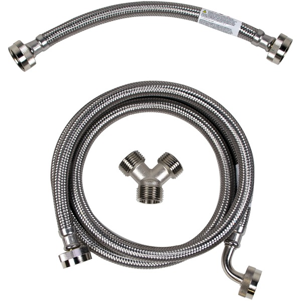 Certified Appliance Accessories(R) STMKIT2 Braided Stainless Steel Steam Dryer Installation Kit (5ft with Elbow, FGH x FGH)