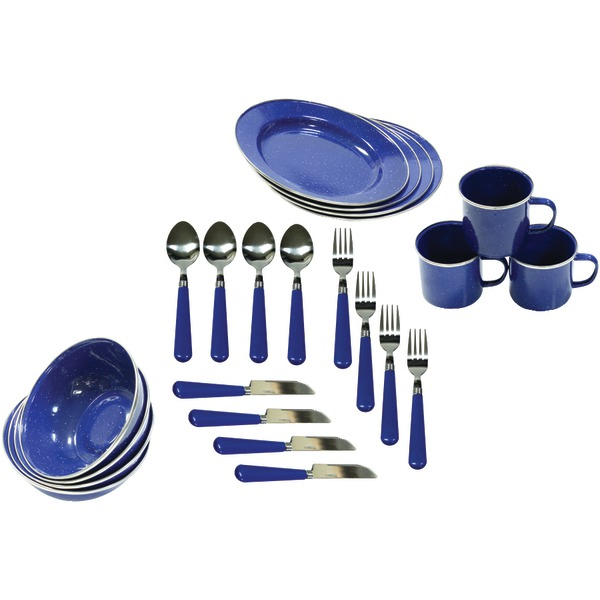 stansport 11220 enamel camping 24 piece tableware set. Black Bedroom Furniture Sets. Home Design Ideas