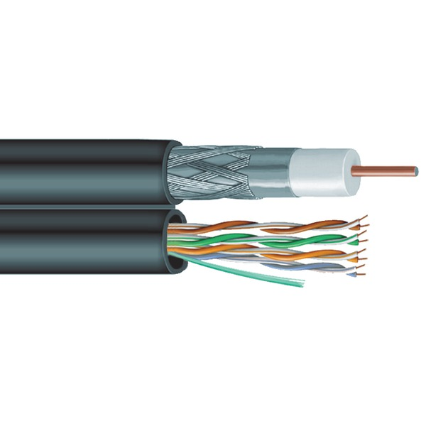 Vextra(R) V6C5E Siamese RG6 Coaxial/CAT-5E Cable, 1,000ft